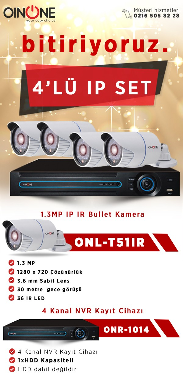 4'LÜ 1.3MP IP IR BULLET KAMERA SET