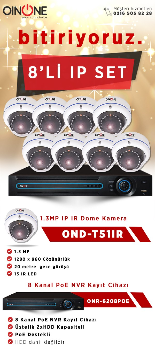 8'Lİ 1.3MP IP IR DOME KAMERA SET