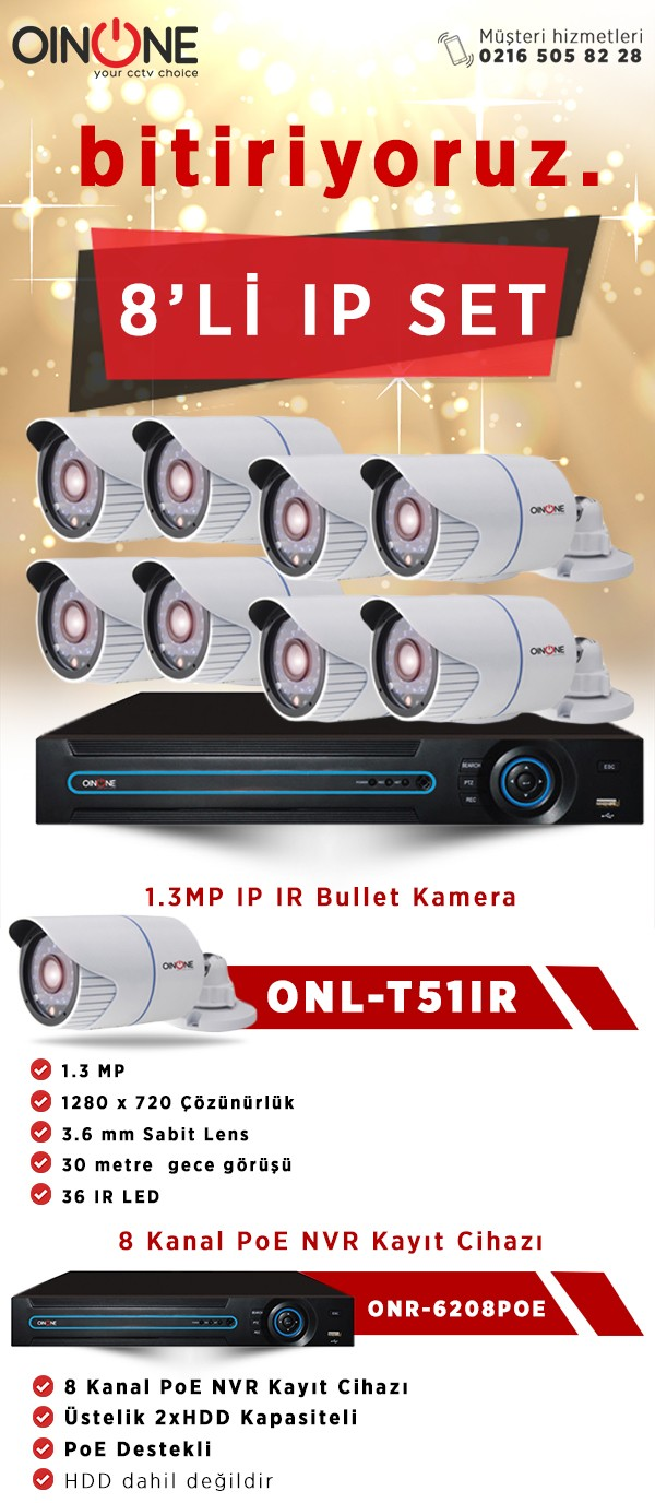 8'Lİ 1.3MP IP IR BULLET KAMERA SET
