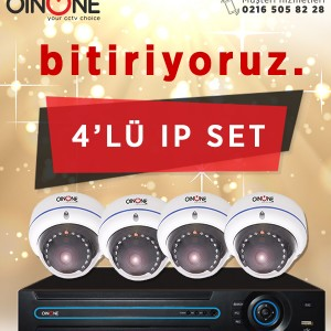 4'LÜ 1.3MP IP IR DOME KAMERA SET